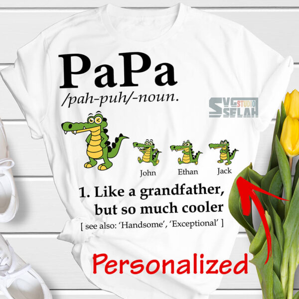 personalized papa definition svg like a grandfather but so much cooler svg crocodile cartoon svg