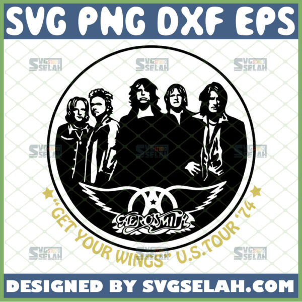 aerosmith svg get your wings us tour 74 svg rock band logo rock n roll svg joe perry