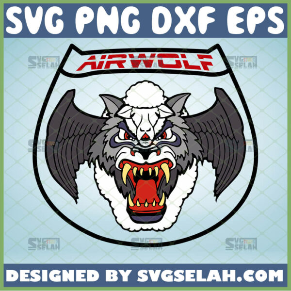 airwolf logo svg winged wolf svg military helocopter tv show inspired