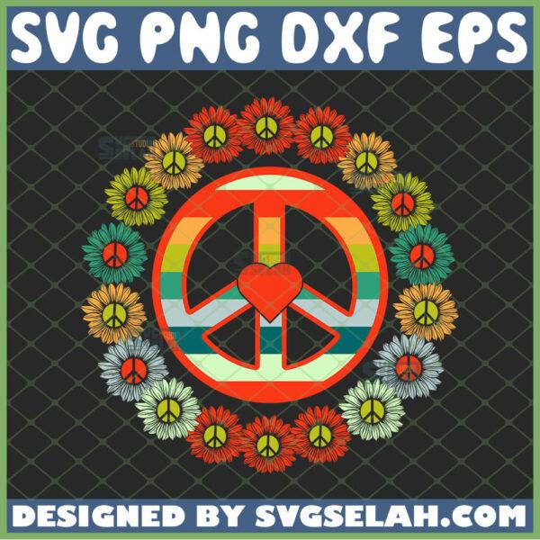 awesome flower power i peace svg sunflower hippie logo svg