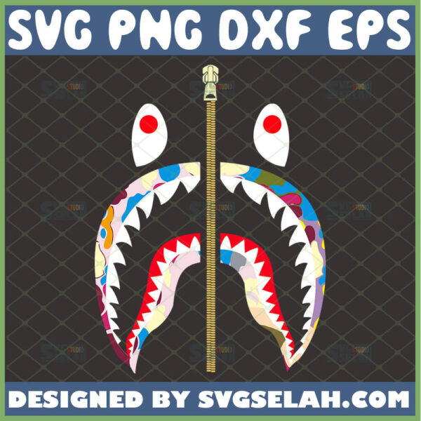 bape shark svg bape camo logo svg color version