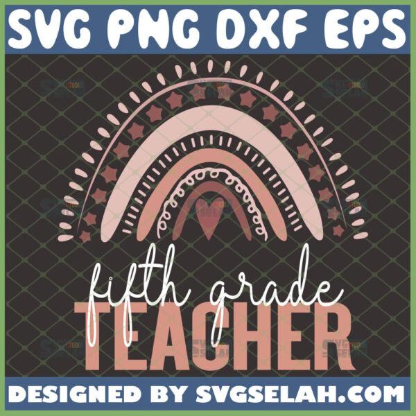 fifth grade teacher svg 5th grade teacher heart rainbow svg