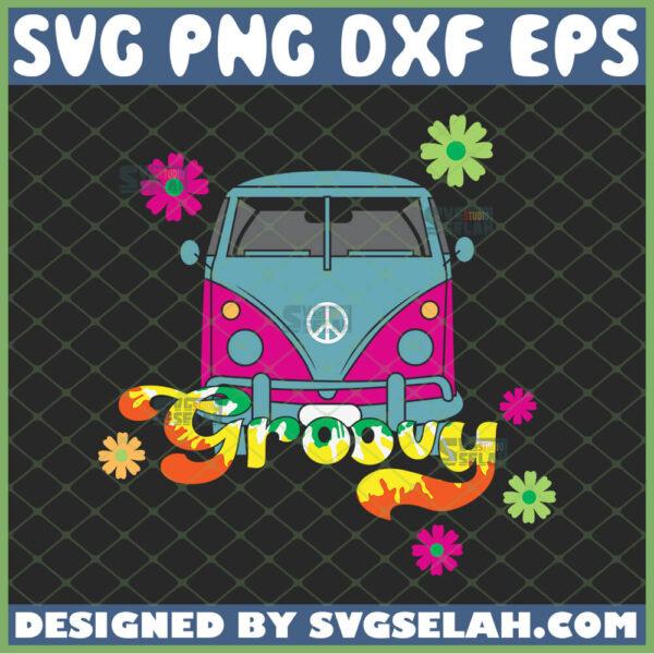 hippie van retro floral bus svg hippie bus groovy svg