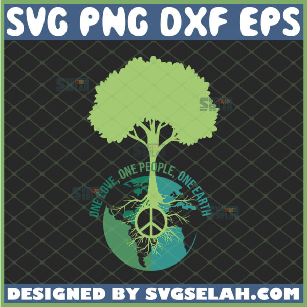 one love one people one earth svg world peace sign tree svg
