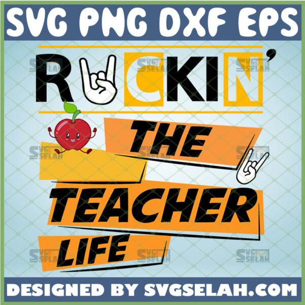 rockin the teacher life svg rock n roll teacher gifts