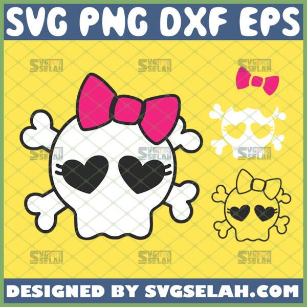 cute girl skull svg