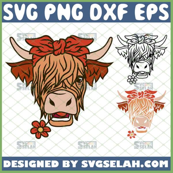 highland cow with bandana svg