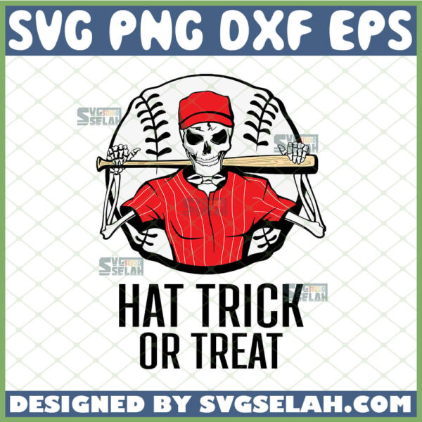 skeleton hat trick or treat svg skeleton playing baseball svg