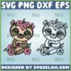 sloth with flower crown svg floral sloth svg outline and color