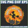 witch flying happy halloween svg