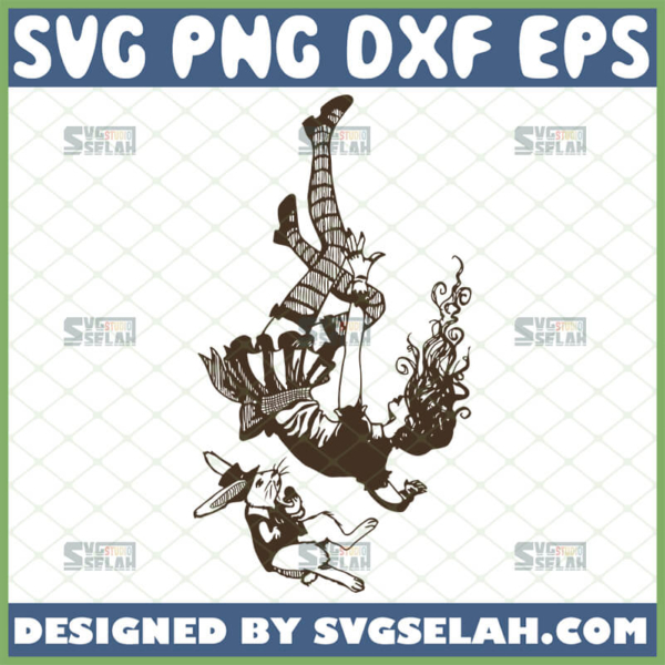 alice in wonderland falling down the rabbit hole silhouette svg