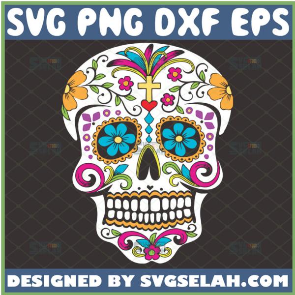 day of the dead svg halloween sugar skull flower svg