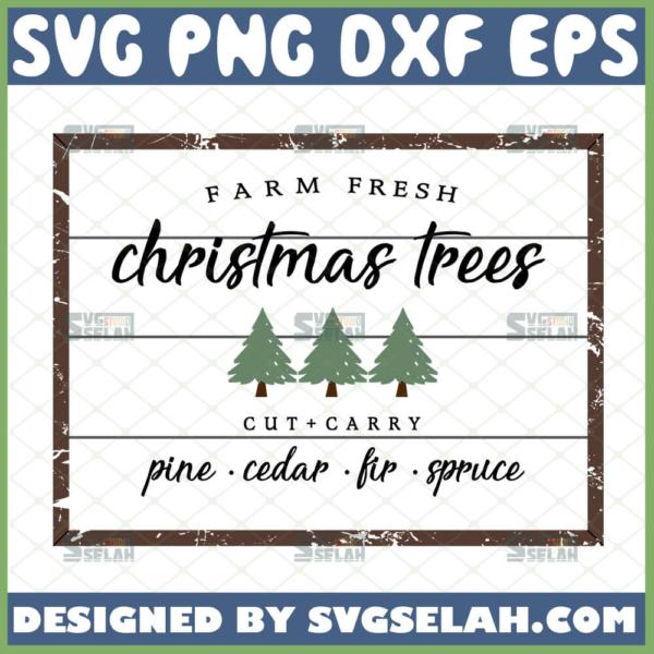 farm fresh christmas tree sign svg